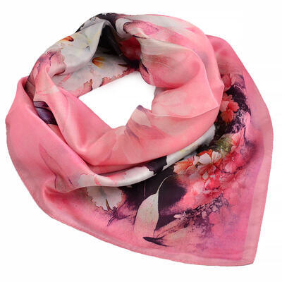 Small square scarf- pink  with floral print - 1
