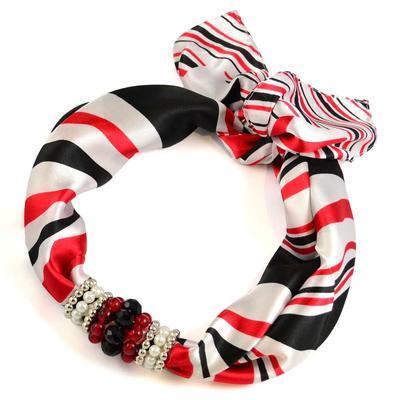 Jewelry scarf Stewardess - white and red - 1