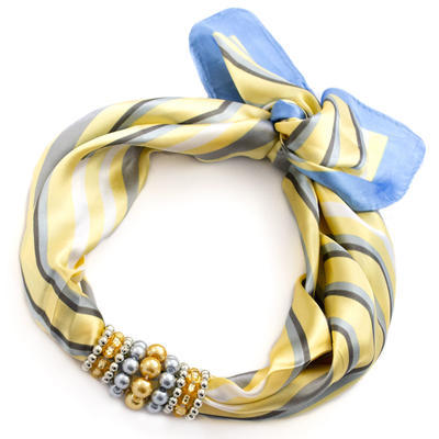 Jewelry scarf Stewardess - yellow and blue - 1