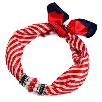 Jewelry scarf Stewardess - red and white - 1