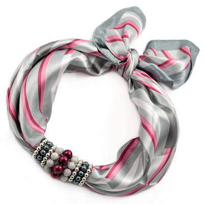 Jewelry scarf Stewardess - grey and pink - 1