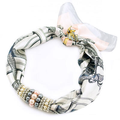 Jewelry scarf Stewardess - white and grey - 1
