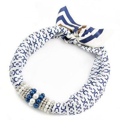 Jewelry scarf Stewardess - blue and white - 1