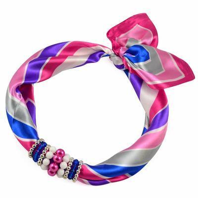 Jewelry scarf Stewardess - pink and blue - 1