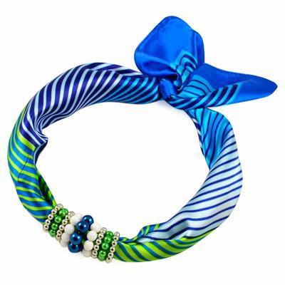 Jewelry scarf Stewardess - blue stripes - 1