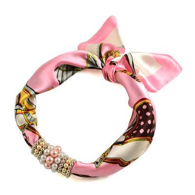 Jewelry scarf Stewardess - pink and white - 1