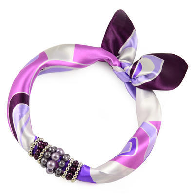 Jewelry scarf Stewardess - white and violet - 1