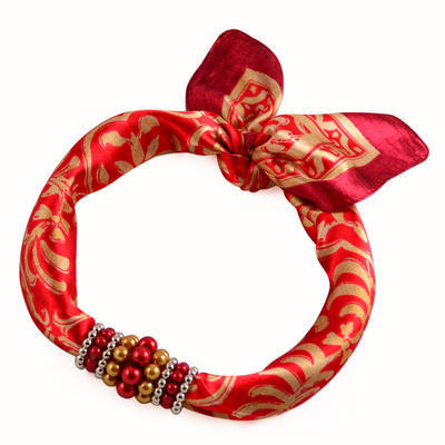 Jewelry scarf Stewardess - red and gold - 1