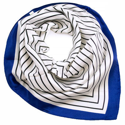 Small neckerchief - white and blue with stripes - 1