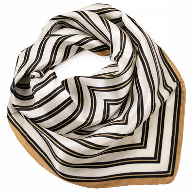 Small neckerchief - white and brown with stripes - 1