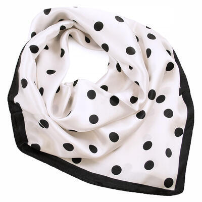 Small neckerchief - white and black polka dot - 1