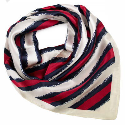 Small neckerchief - red and white with stripes - 1