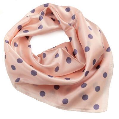 Small neckerchief - pink with grey polka dot - 1