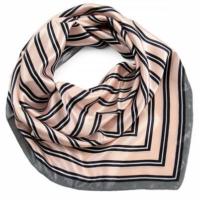 Small neckerchief - pink and grey with stripes - 1