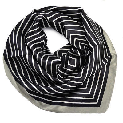 Small neckerchief - black and grey with stripes - 1
