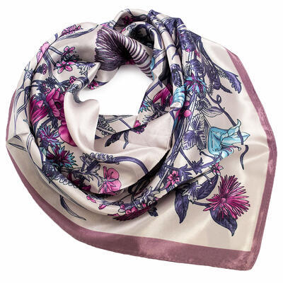 Small neckerchief - beige and violet - 1