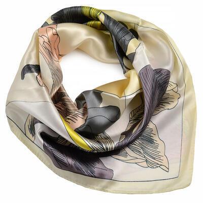 Small neckerchief - beige and brown - 1