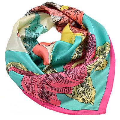 Small neckerchief - menthol green and pink - 1