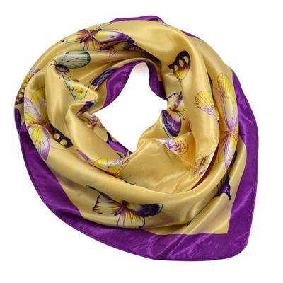 Small neckerchief 63sk005-14.35 - beige and violet - 1