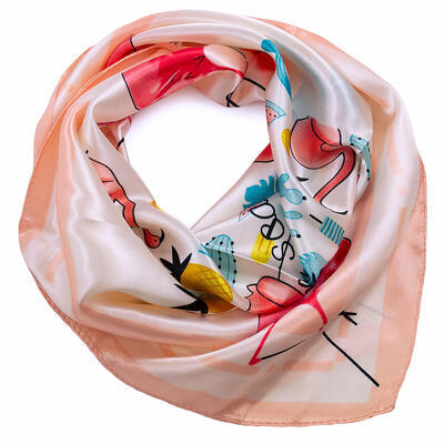 Small neckerchief - white and pink - 1