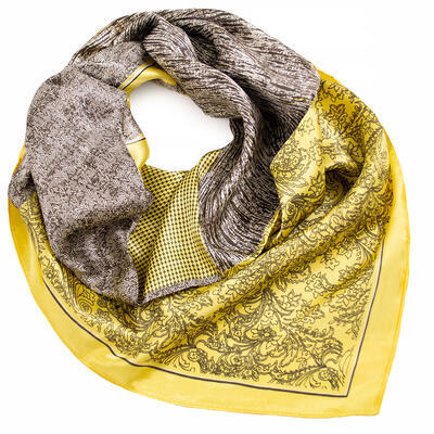 Small neckerchief - yellow and brown - 1