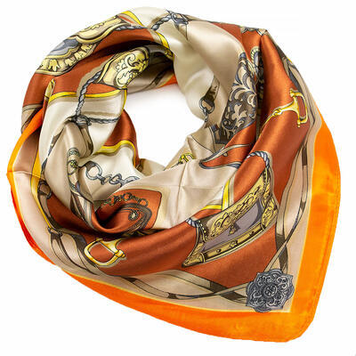 Small neckerchief - orange and beige - 1