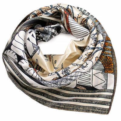 Small neckerchief - beige and white - 1