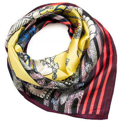 Small neckerchief - wine red and yellow - 1