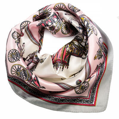 Small neckerchief - pink and grey - 1