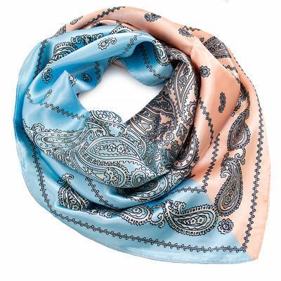 Small neckerchief - blue and peach pink - 1