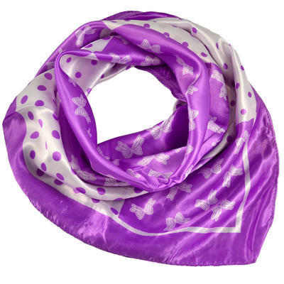 Square scarf - violet and white - 1