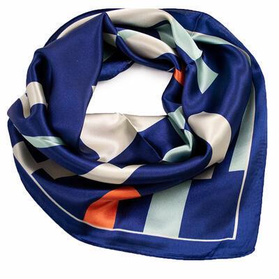 Small neckerchief - blue and beige - 1