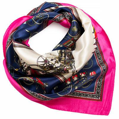 Small neckerchief - dark blue and fuchsia pink - 1