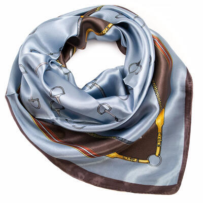 Small neckerchief - blue and brown - 1