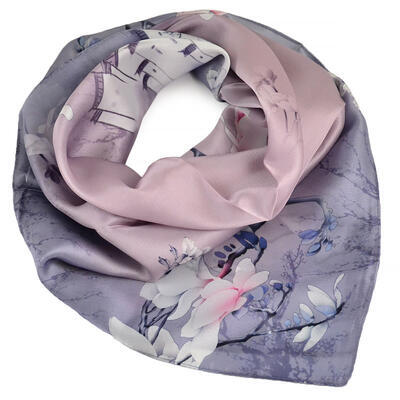 Small neckerchief - grey with floral print - 1