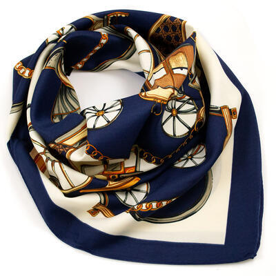 Small neckerchief - darg blue and beige - 1