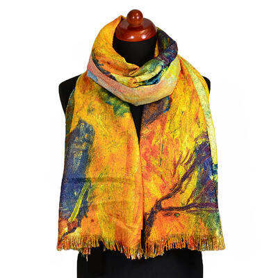 Blanket scarf bilateral - multicolor and yellow - 2