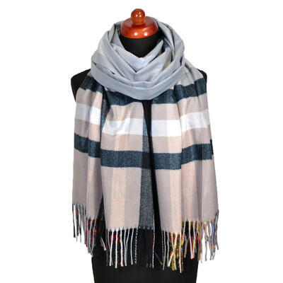 Blanket scarf bilateral - multicolor and beige - 2