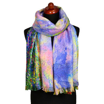 Blanket scarf bilateral - multicolor and violet - 2