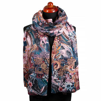 Two-sided blanket scarf - pink and brown - 2