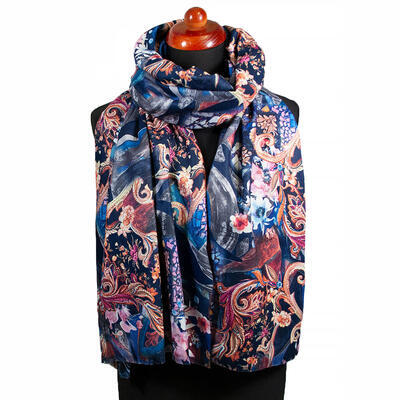 Two-sided blanket scarf - blue and brown - 2