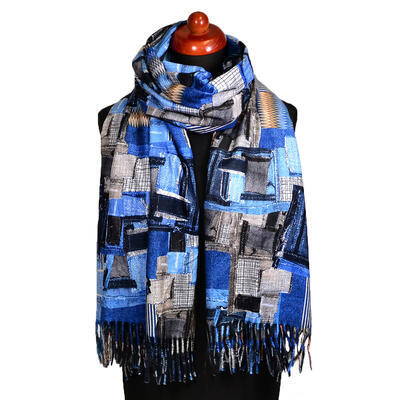 Blanket scarf bilateral - blue and grey - 2