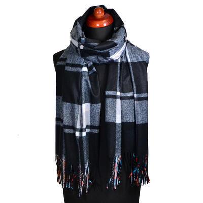 Blanket scarf bilateral - black and multicolor - 2