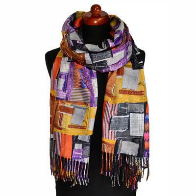 Blanket scarf bilateral - grey and orange/multicolor - 2