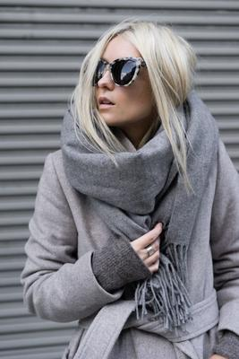Blanket scarf - blue and light grey - 2