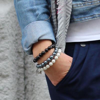 Bracelet set - black&white contrast - 2