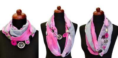 Jewelry scarf Extravagant - light blue and pink - 2