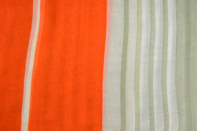 Classic women's scarf - orange woth stripes - 2