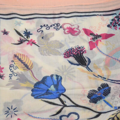 Classic women's scarf - pink with flowers - 2