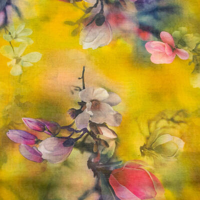 Classic women's scarf - yellow with floral print - 2